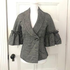 Trina Turk Gray Tweed Lantern Sleeve Jacket